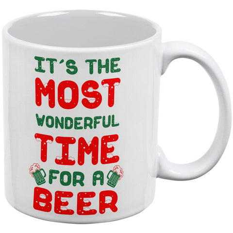 Christmas Most Wonderful Time for a Beer All Over Coffee Mug