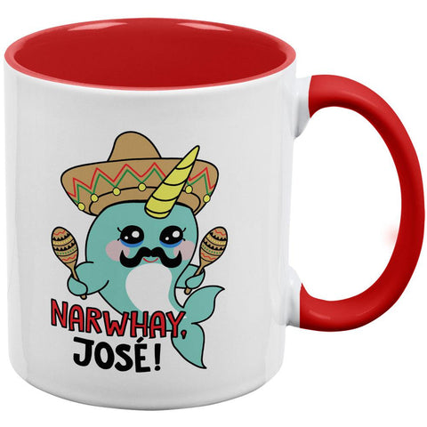 Narwhal Narwhay Jose Red Handle Coffee Mug