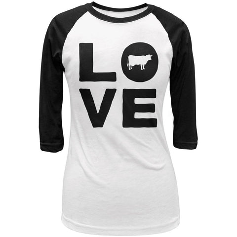 Cow Love Juniors 3/4 Sleeve Raglan T Shirt