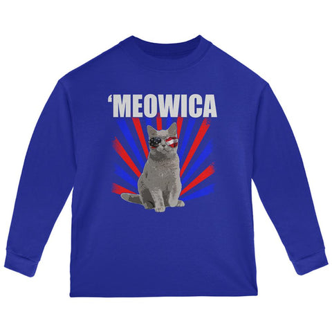Cat 4th of July Meowica Toddler Long Sleeve T Shirt