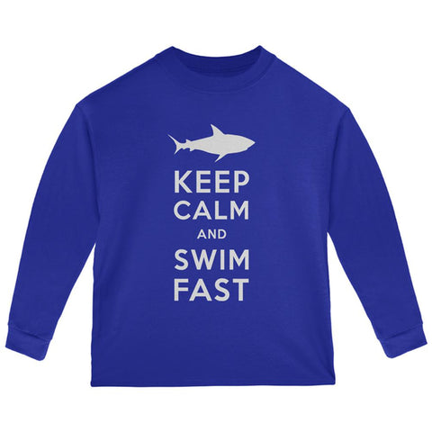 Shark Keep Calm and Swim Fast Toddler Long Sleeve T Shirt