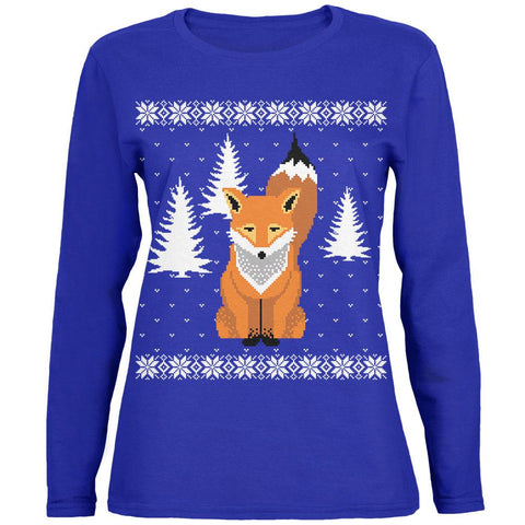 Big Fox Ugly Christmas Sweater Womens Long Sleeve T Shirt