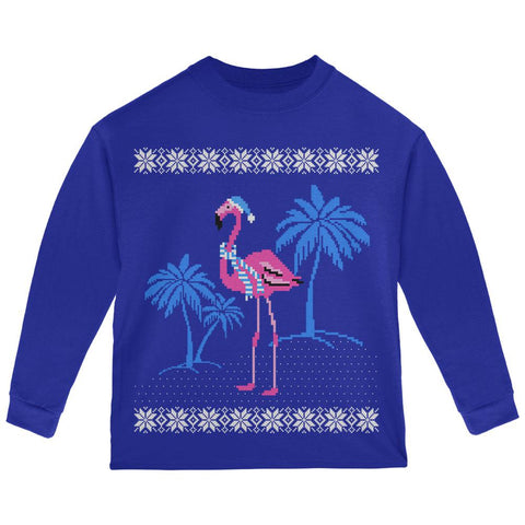 Flamingo Winter Ugly Christmas Sweater Toddler Long Sleeve T Shirt