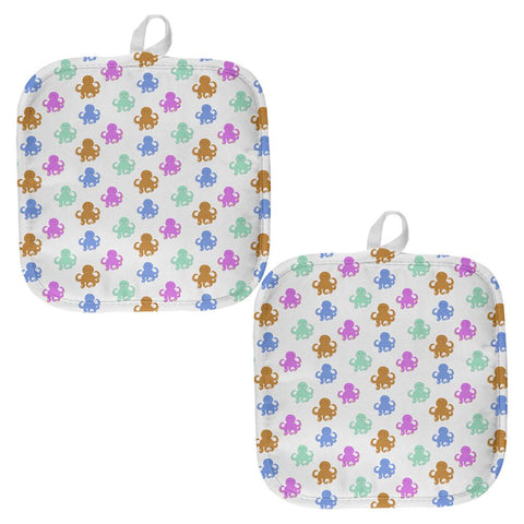 Cute Octopus Pattern All Over Pot Holder (Set of 2)