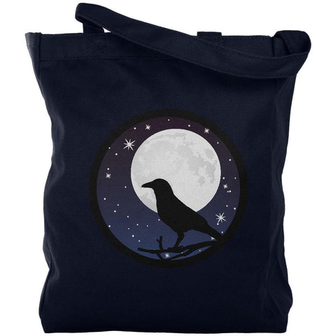 Raven Crow Moon Night Sky Silhouette Canvas Tote Bag