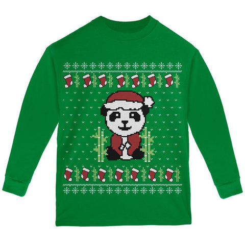 Ugly Christmas Sweater Panda Youth Long Sleeve T Shirt
