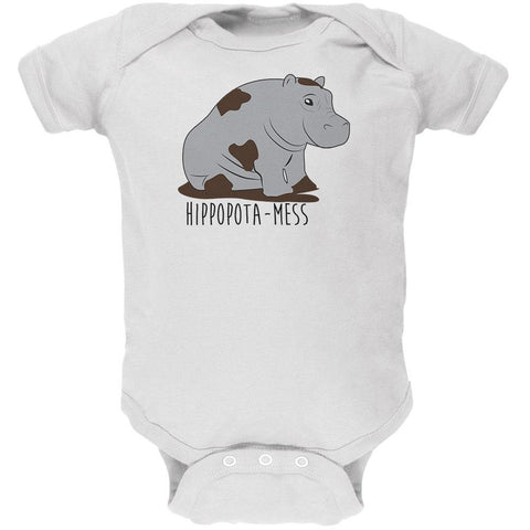 Hippo Mess Hippopotamess Funny Pun Soft Baby One Piece