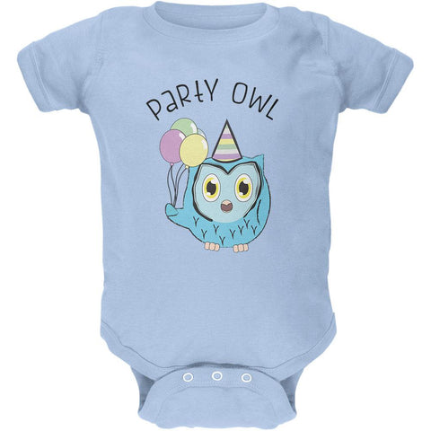 Party Owl Funny Cute Soft Baby Crewneck One Piece