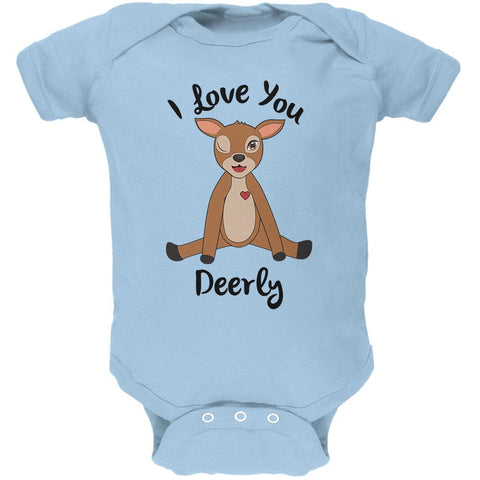 Deer I love You Deerly Dearly Funny Pun Soft Baby One Piece
