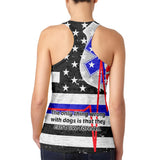 Firefighter EMT Dalmatian Live Forever Thin Red Line Juniors Burnout Tank Top