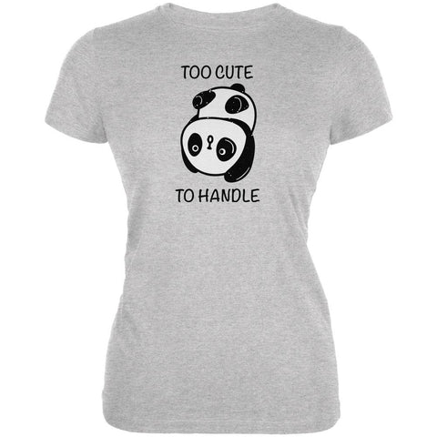 Panda Too Cute to Handle Juniors Soft T Shirt