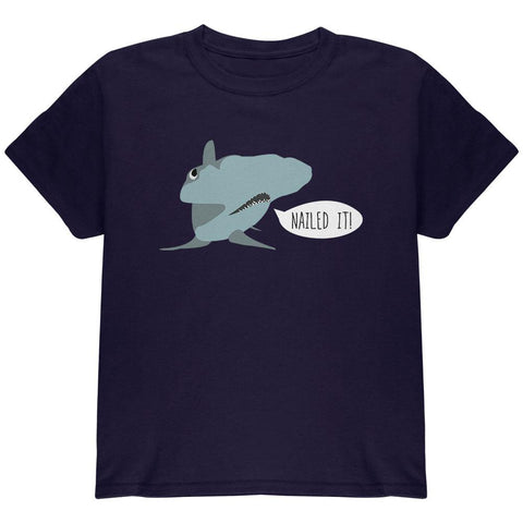 Shark Nailed It Hammerhead Funny Pun Youth T Shirt