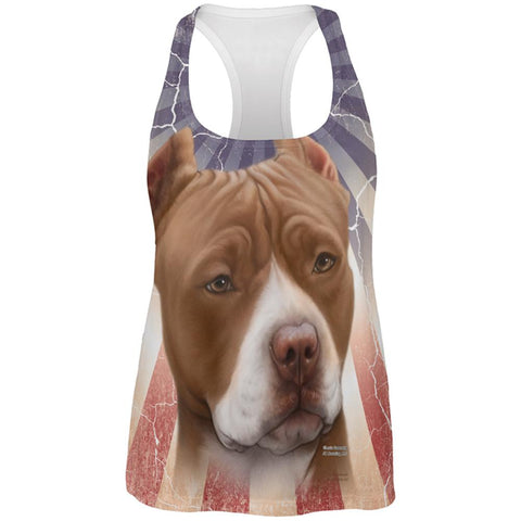 Pit Bull Terrier Live Forever All Over Womens Work Out Tank Top