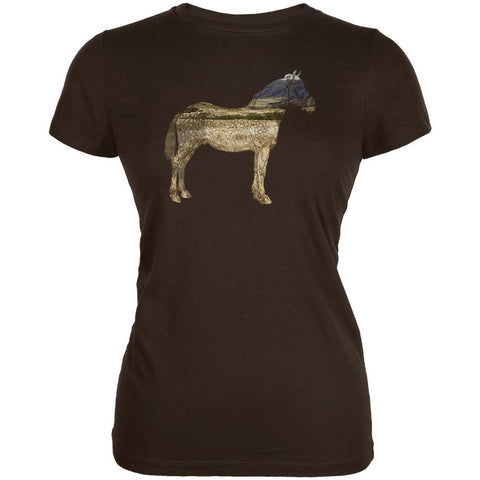 Horse Field Wild Mustang Juniors Soft T Shirt