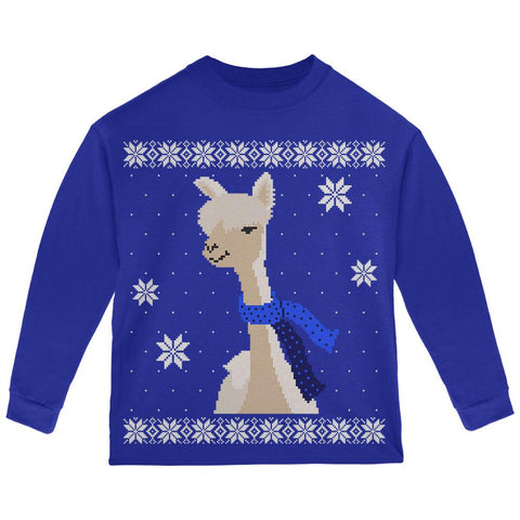 Big Alpaca Scarf Ugly Christmas Sweater Toddler Long Sleeve T Shirt