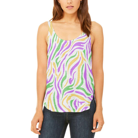 Mardi Gras Zebra Stripes Costume Juniors Flowy Side Slit Tank Top