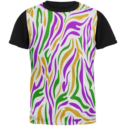 Mardi Gras Zebra Stripes Costume All Over Mens Black Back T Shirt