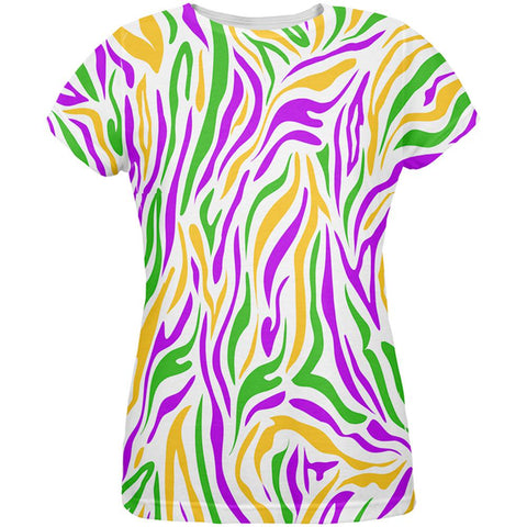 Mardi Gras Zebra Stripes Costume All Over Womens T Shirt