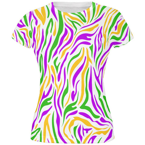 Mardi Gras Zebra Stripes Costume All Over Juniors T Shirt