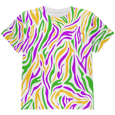 Mardi Gras Zebra Stripes Costume All Over Youth T Shirt