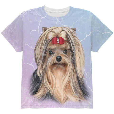 Yorkshire Terrier Live Forever All Over Youth T Shirt