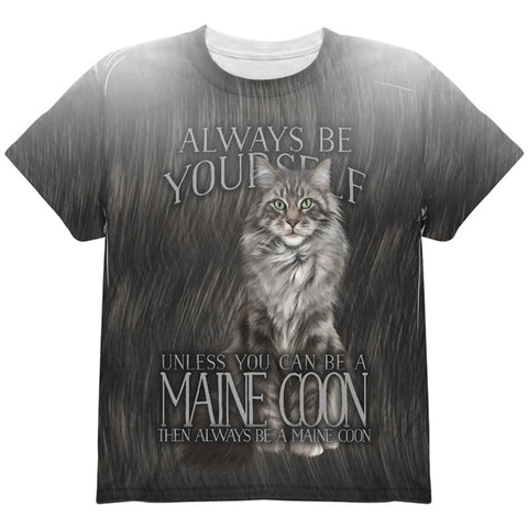 Always Be Yourself Unless Maine Coon Cat All Over Youth T Shirt