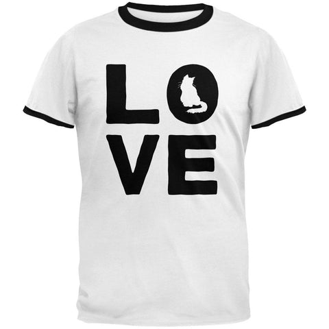 Cat Love Mens Ringer T Shirt