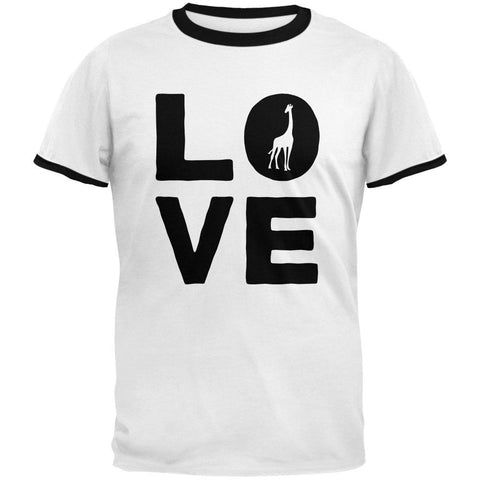 Giraffe Love Mens Ringer T Shirt