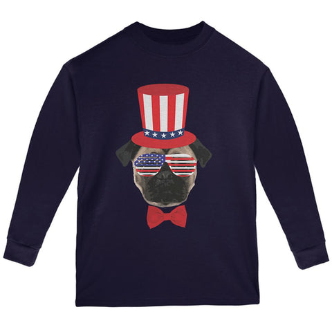 4th of July Funny Pug Youth Long Sleeve T Shirt