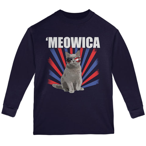 Cat 4th of July Meowica Youth Long Sleeve T Shirt