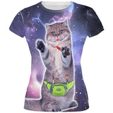 Makeup Cat Funny All Over Juniors T Shirt