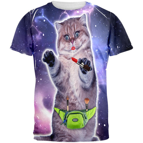 Makeup Cat Funny All Over Mens T Shirt