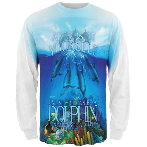 Always Be Yourself Unless Dolphin All Over Mens Long Sleeve T Shirt