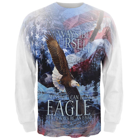 Always Be Yourself Unless American Bald Eagle All Over Mens Long Sleeve T Shirt