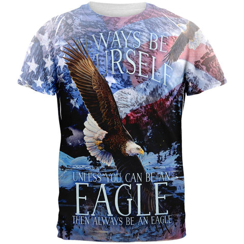 Always Be Yourself Unless American Bald Eagle All Over Mens T Shirt