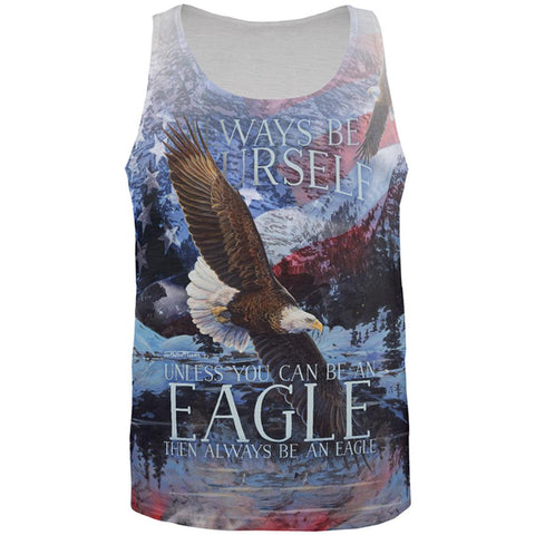 Always Be Yourself Unless American Bald Eagle All Over Mens Tank Top