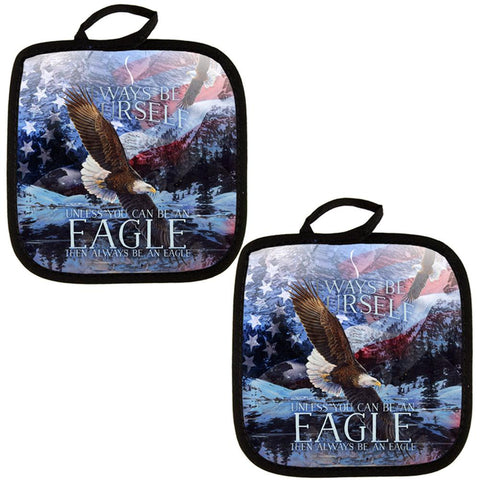 Always Be Yourself Unless American Bald Eagle All Over Pot Holder (Set of 2)