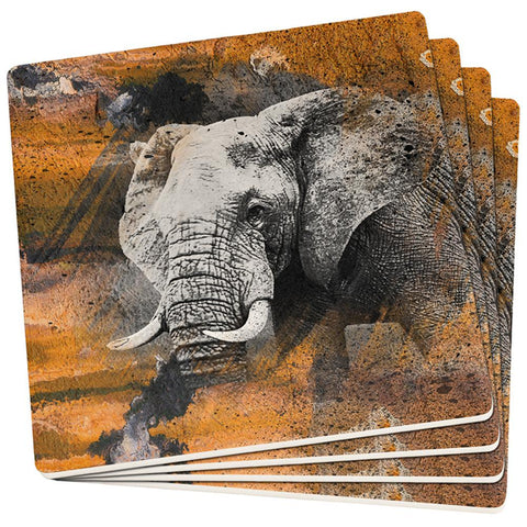 Abstract Art Elephant Set of 4 Square Sandstone Coasters