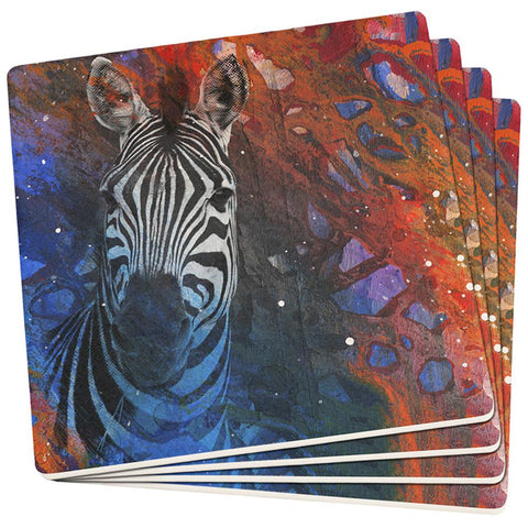 Abstract Art Zebra Set of 4 Square Sandstone Coasters