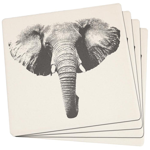 Elephant Head Set of 4 Square Sandstone Coasters