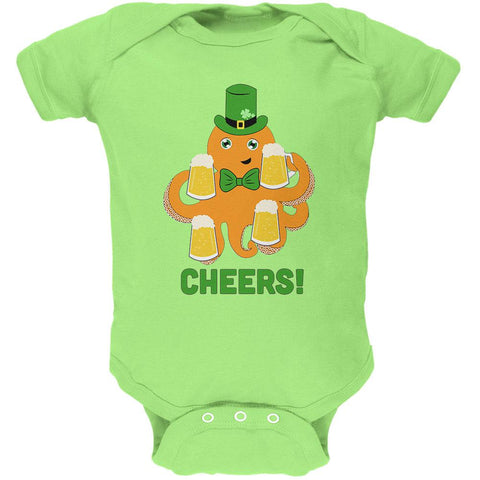 St. Patrick's Day Octopus Beer Funny Soft Baby One Piece