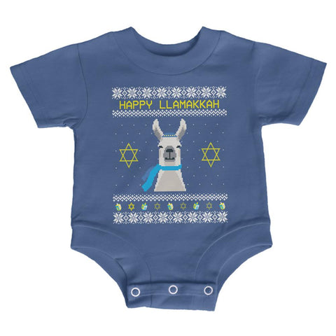 Llama Llamakkah Ugly Hanukkah Sweate Soft Baby Crewneck One Piece