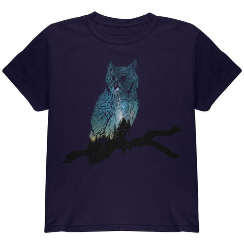 Owl Starry Night Sky Youth T Shirt