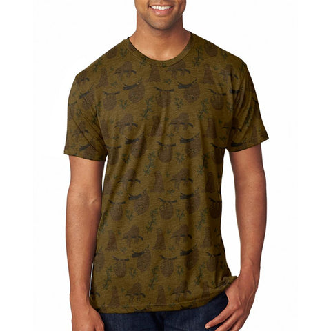Sloth Pattern Nature Leaves Cute Men's Soft T-Shirt