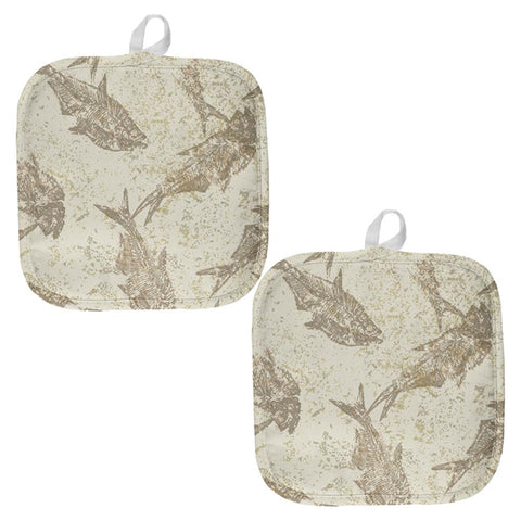Prehistoric Fish Fossils All Over Pot Holder (Set of 2)