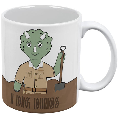 Cute Dino Dinosaur Cartoon Paleontologist Triceratops I Dig All Over Coffee Mug