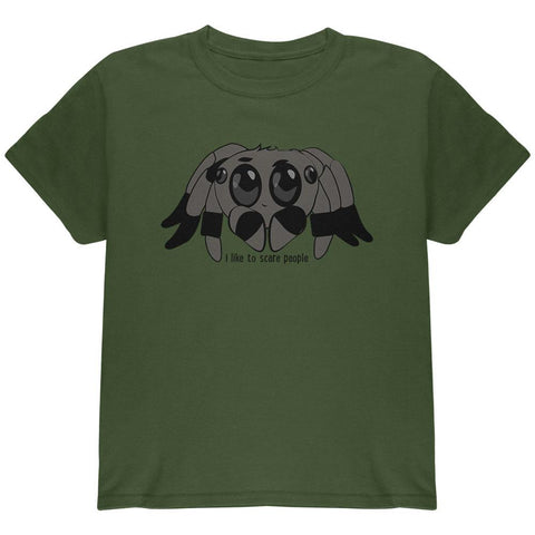 Cute Jumping Spider Cartoon I Like To Scare People Youth T Shirt