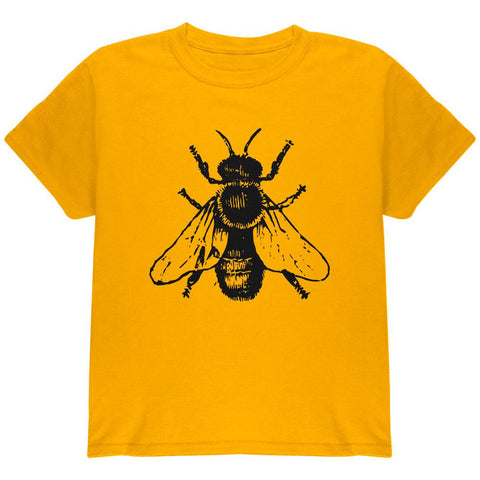 Honey Bee Bees Woodcut Youth T Shirt