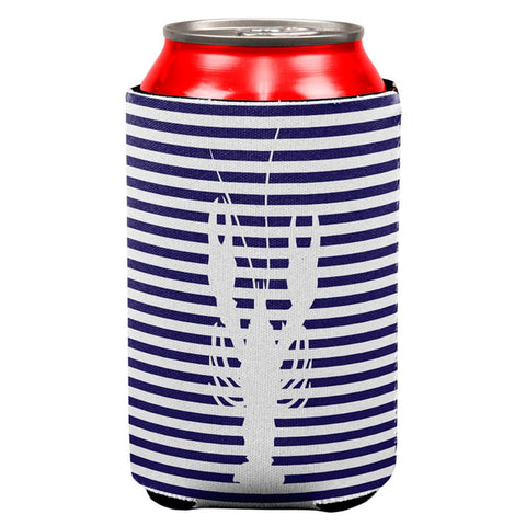 Lobster Navy Nautical Stripes All Over Can Cooler