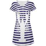 Lobster Navy Nautical Stripes All Over Juniors Beach Cover-Up Dress